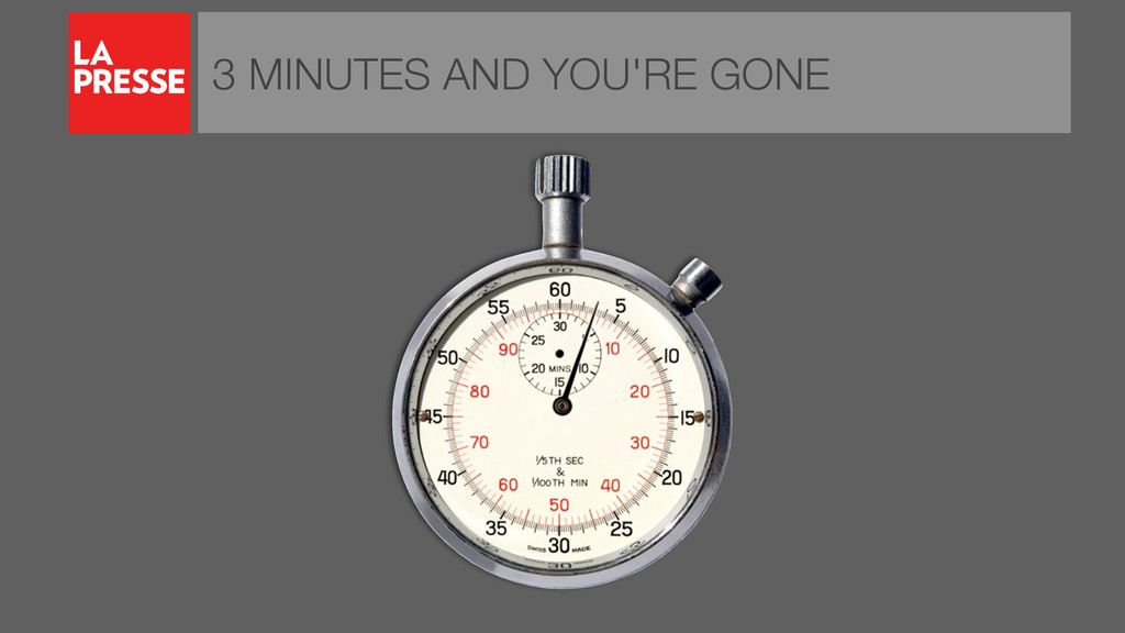 3 MINUTES AND YOU'RE GONE