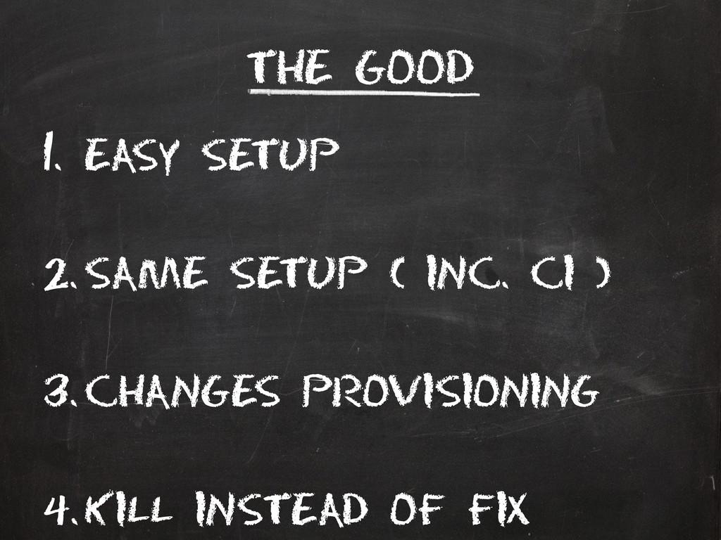 The good 1. Easy setup 2. Same setup ( inc. Ci ...