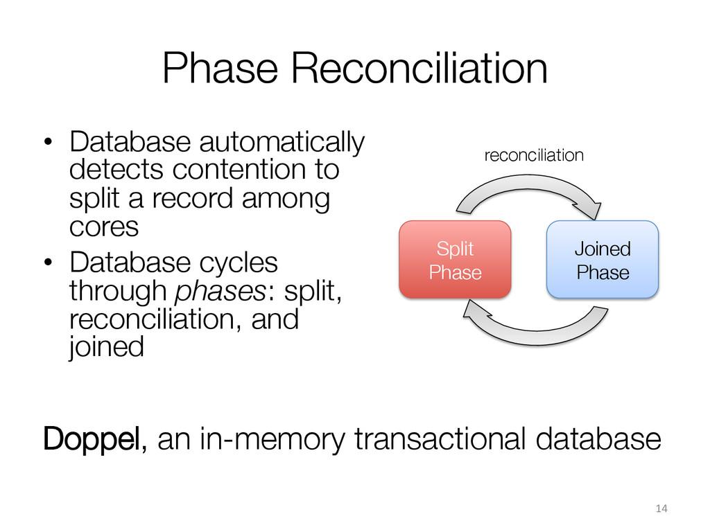 Phase Reconciliation  • Database automatical...