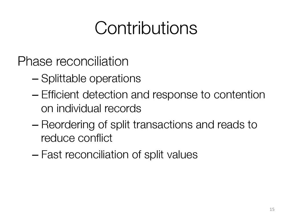 Contributions Phase reconciliation –Splittab...