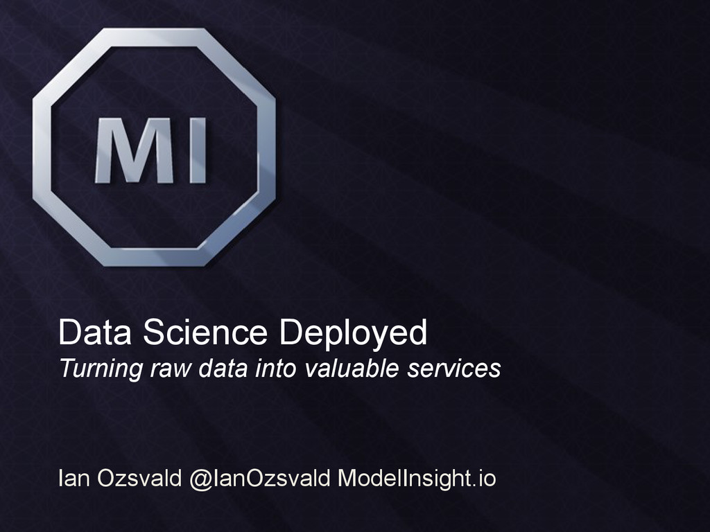 Data Science Deployed Turning raw data into val...