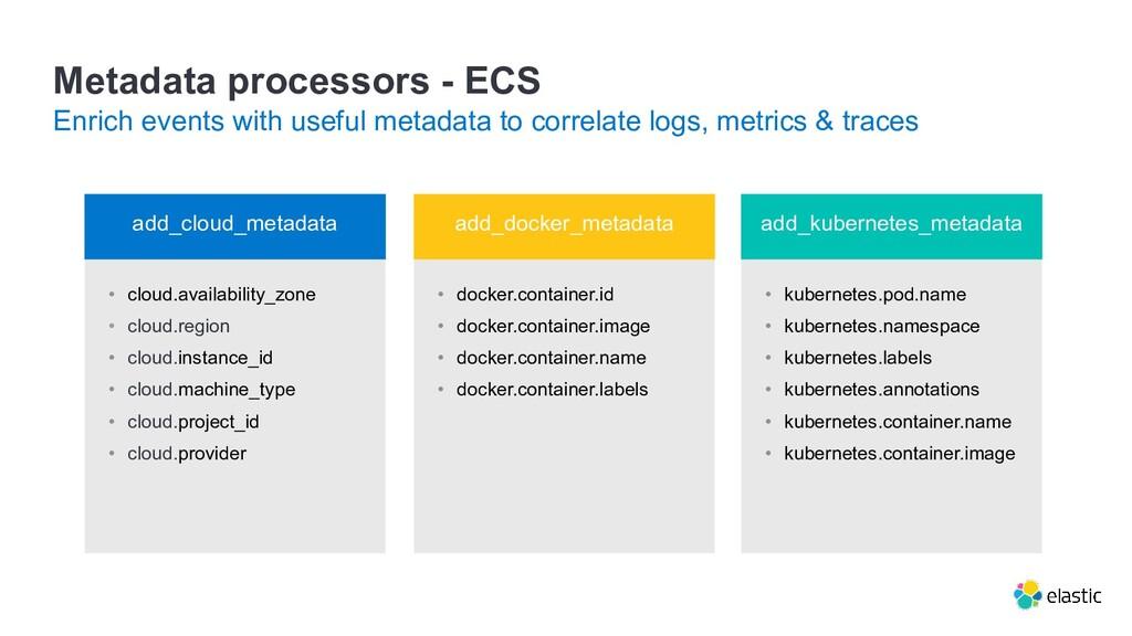 Metadata processors - ECS Enrich events with us...