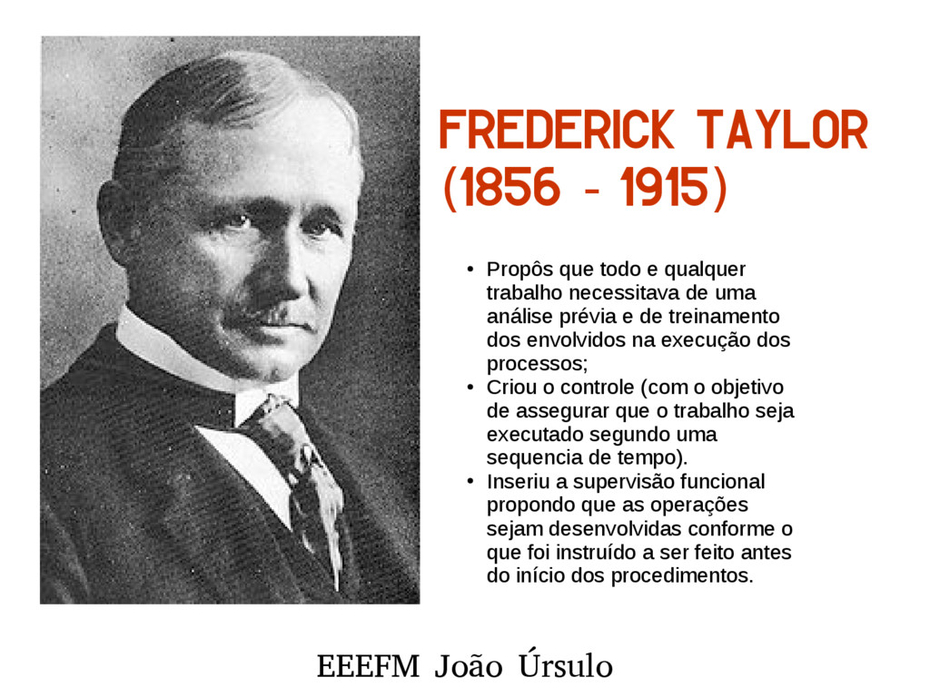 EEEFM João Úrsulo Frederick Taylor 1856 1915 ( ...