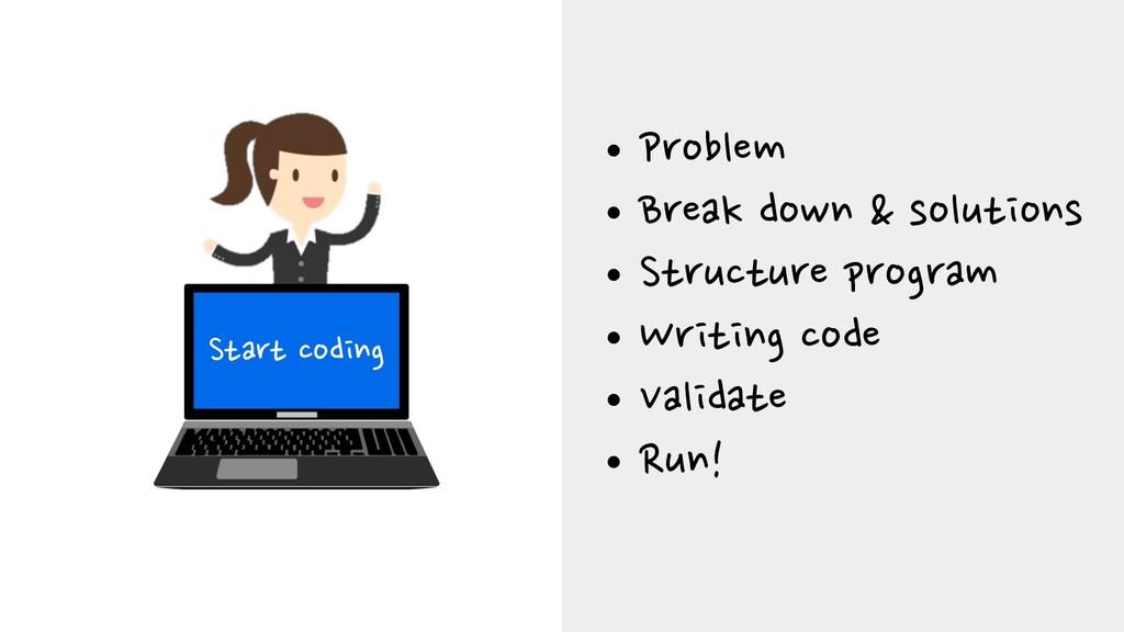 Start coding •Problem •Break down & solutions •...