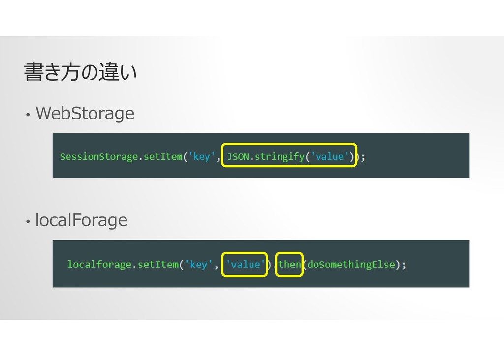 書き方の違い • WebStorage • localForage