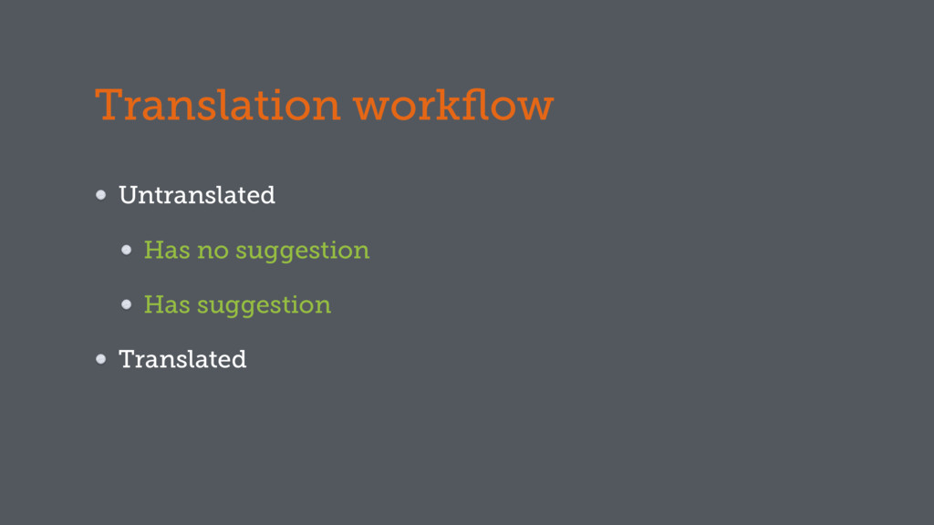 Translation workflow Untranslated Has no suggest...