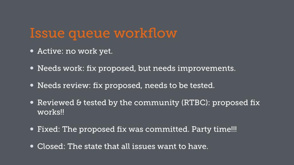 Issue queue workflow Active: no work yet. Needs ...