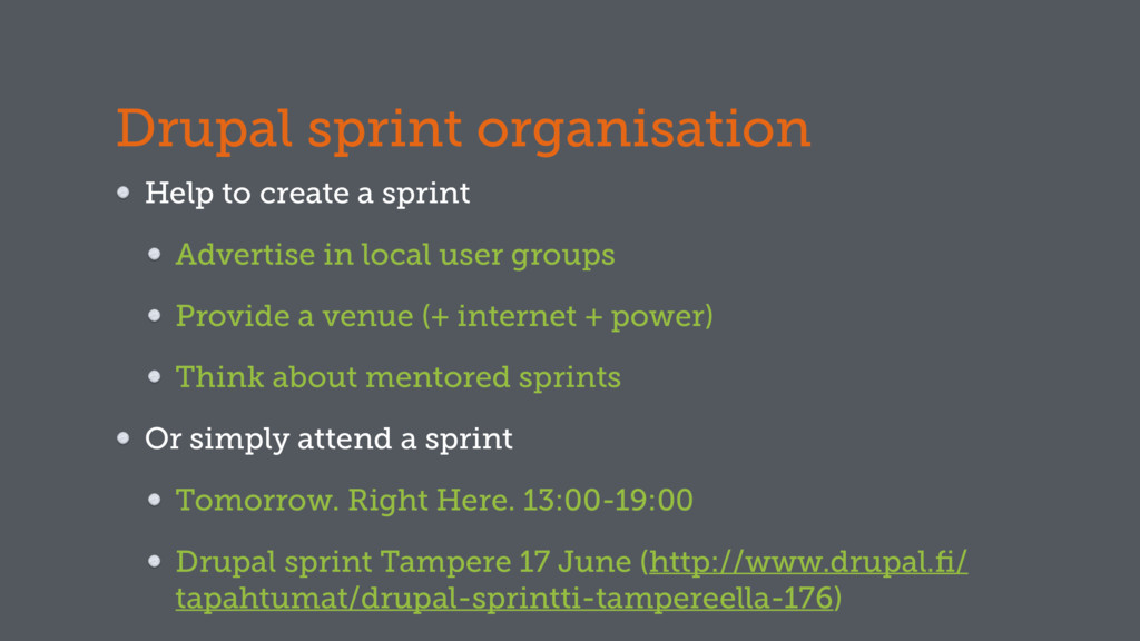 Drupal sprint organisation Help to create a spr...