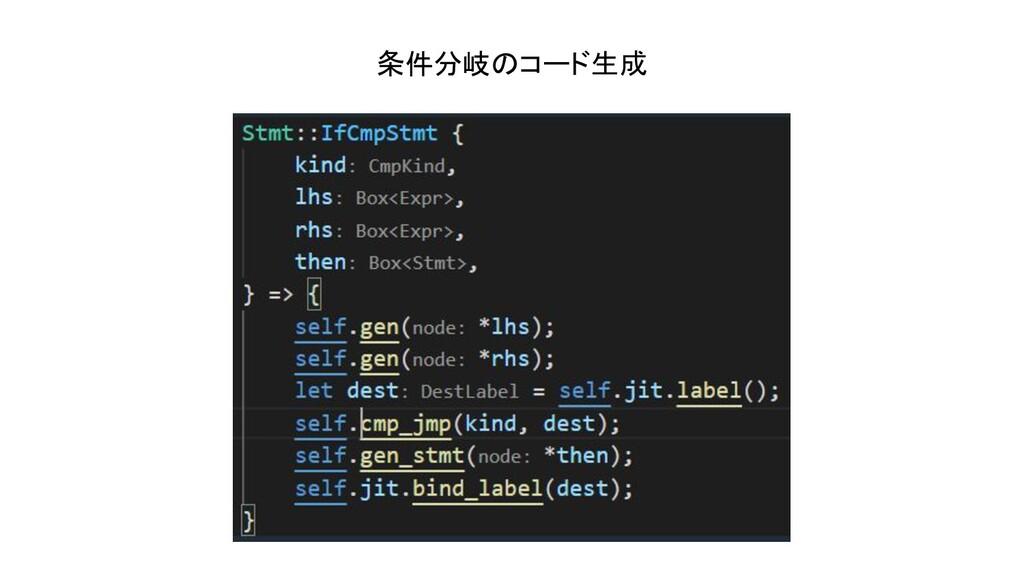 条件分岐のコード生成