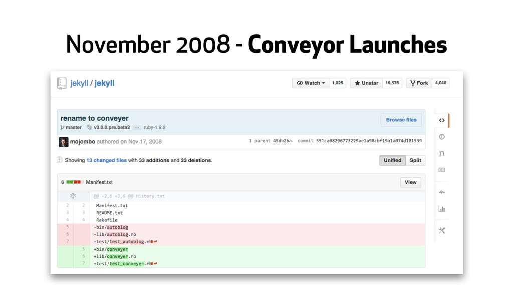 November 2008 - Conveyor Launches