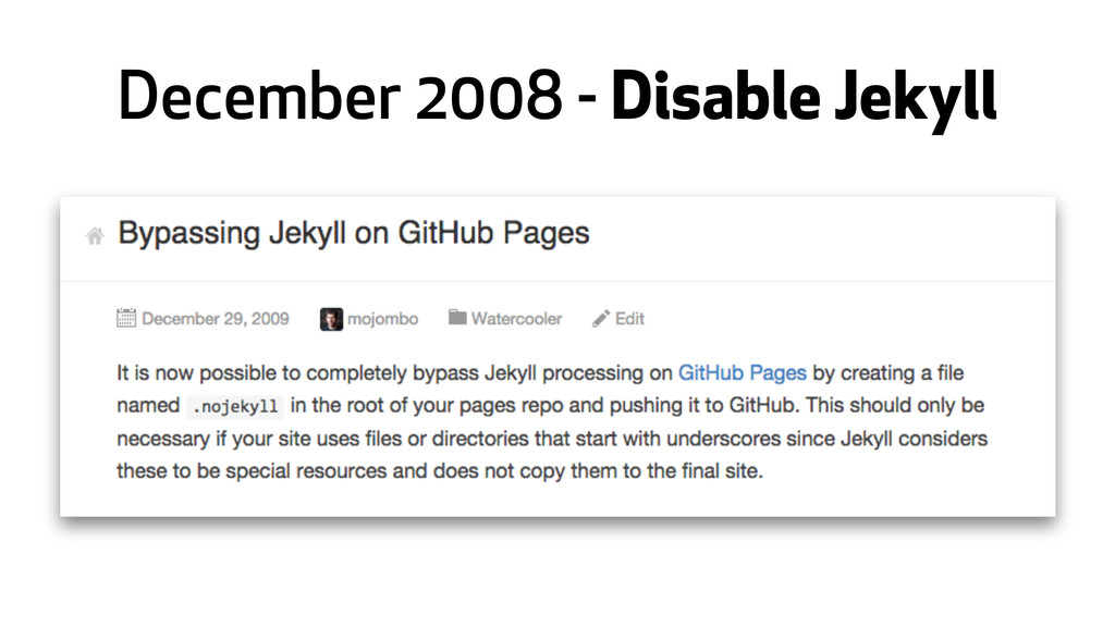 December 2008 - Disable Jekyll
