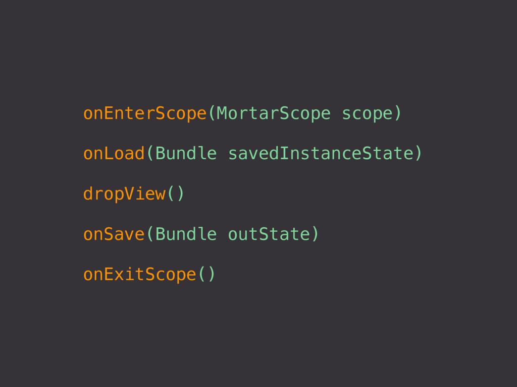onEnterScope(MortarScope scope) onLoad(Bundle s...