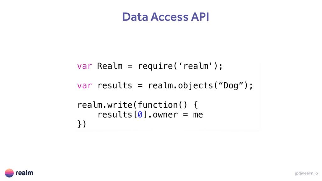 Data Access API jp@realm.io var Realm = require...