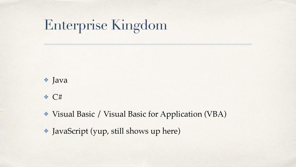 Enterprise Kingdom ✤ Java! ✤ C#! ✤ Visual Basic...