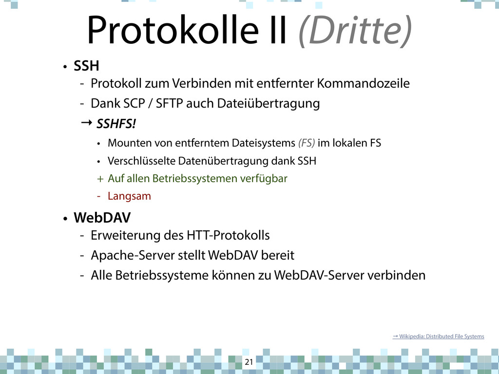 Protokolle II (Dritte) 21 • SSH - Protokoll zum...