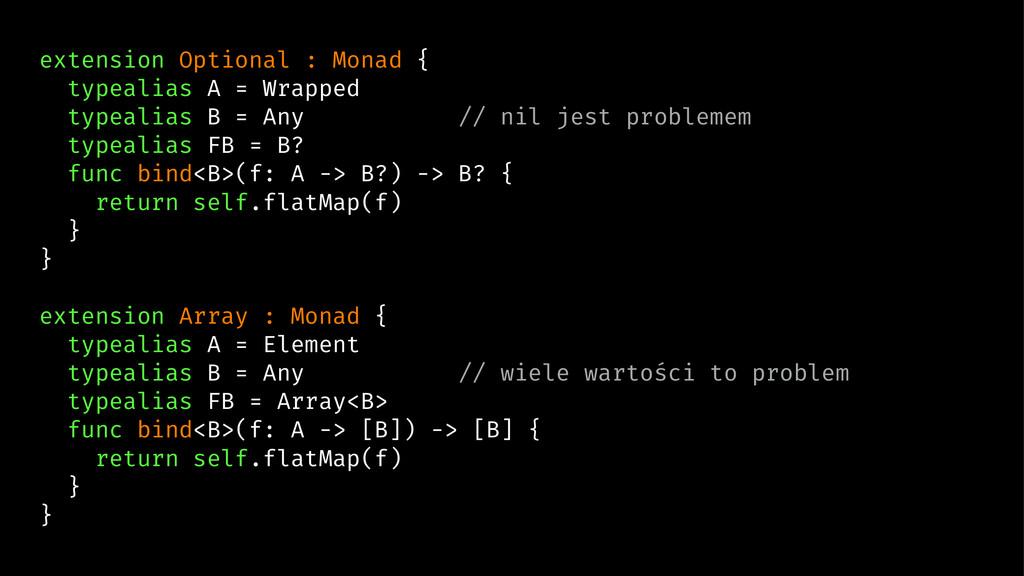 extension Optional : Monad { typealias A = Wrap...