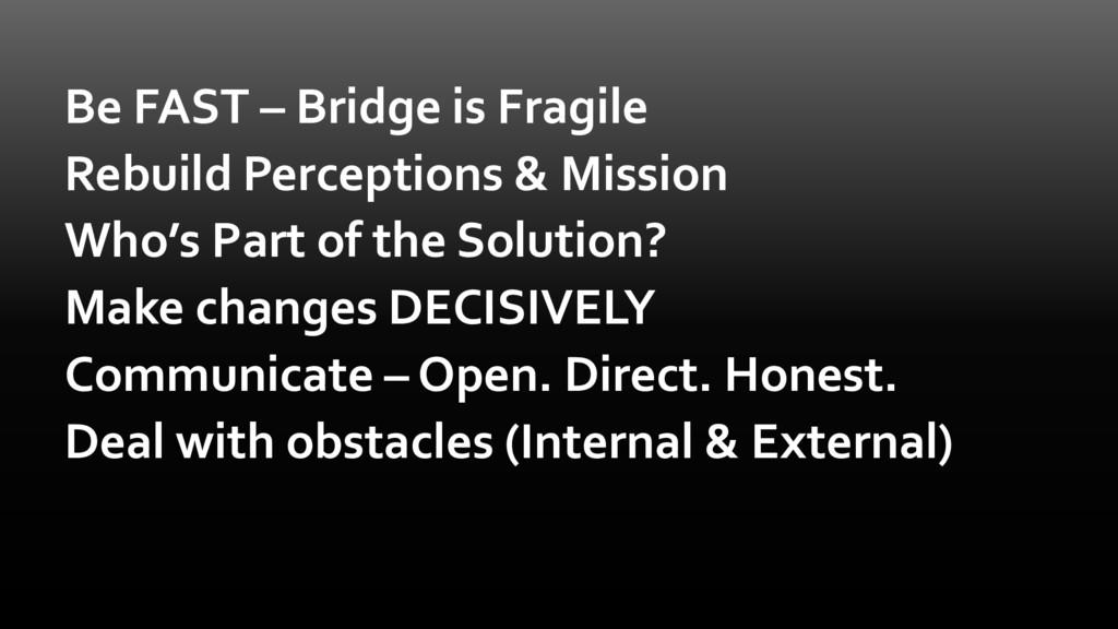 Be FAST – Bridge is Fragile Rebuild Perceptions...