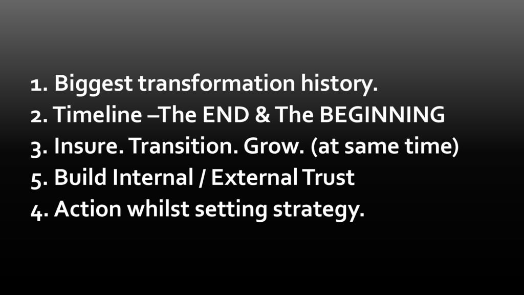 1. Biggest transformation history. 2. Timeline ...