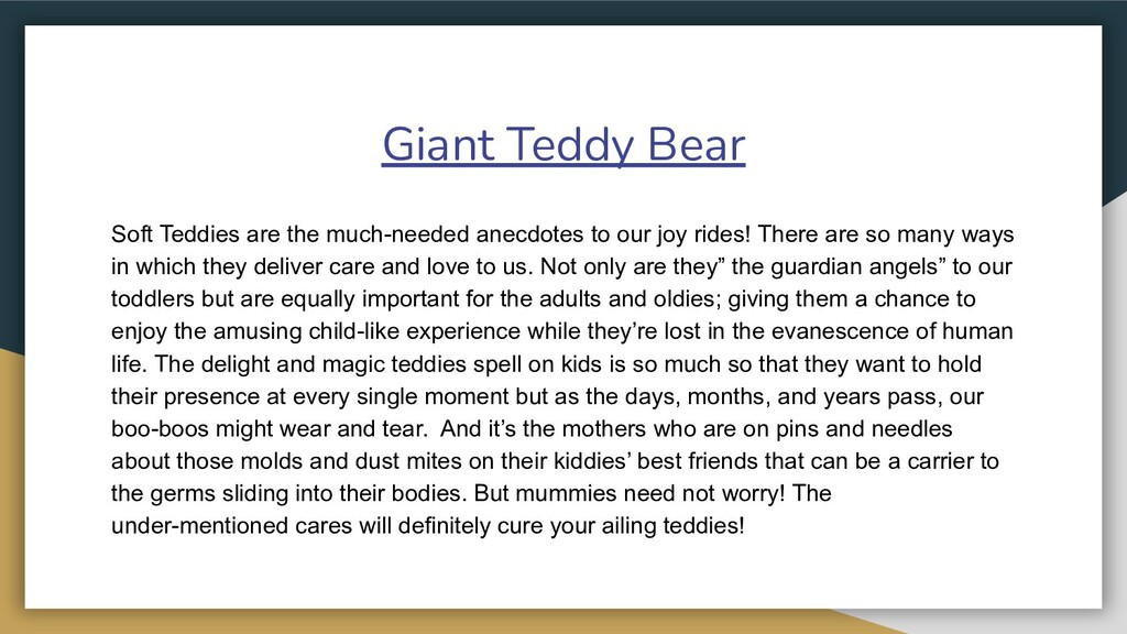 Giant Teddy Bear Soft Teddies are the much-need...