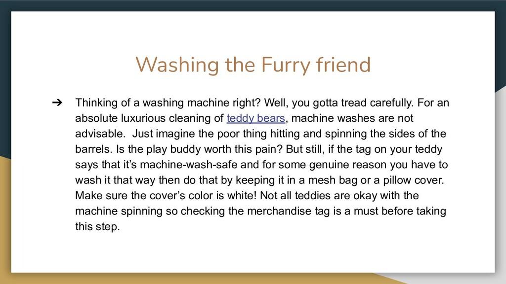 Washing the Furry friend ➔ Thinking of a washin...