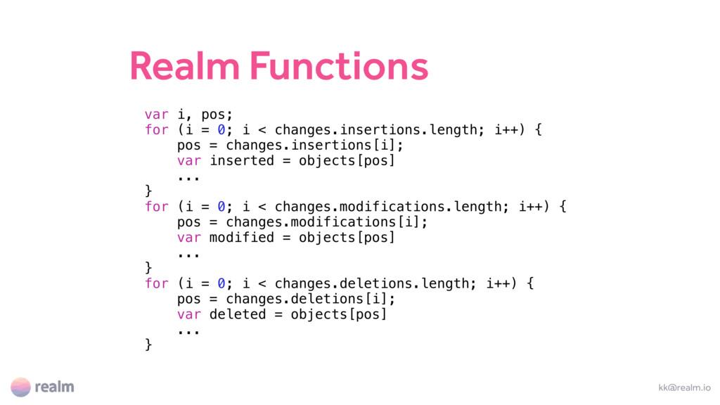 Realm Functions kk@realm.io var i, pos; for (i ...