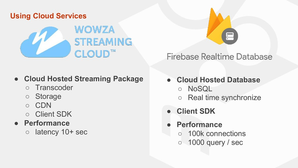 Using Cloud Services ● Cloud Hosted Streaming P...