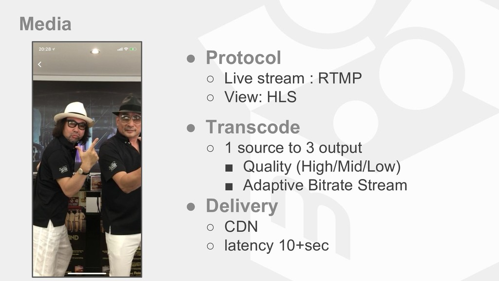 Media ● Protocol ○ Live stream : RTMP ○ View: H...