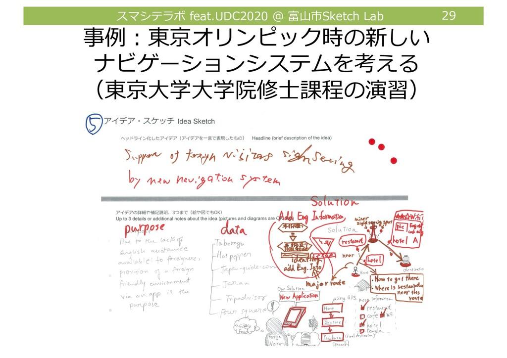スマシテラボ feat.UDC2020 @ 富⼭市Sketch Lab 29 事例︓東京オリン...