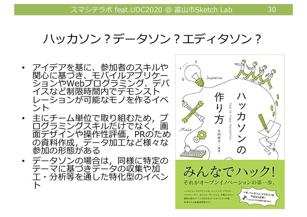 スマシテラボ feat.UDC2020 @ 富⼭市Sketch Lab 30 ハッカソン︖デー...