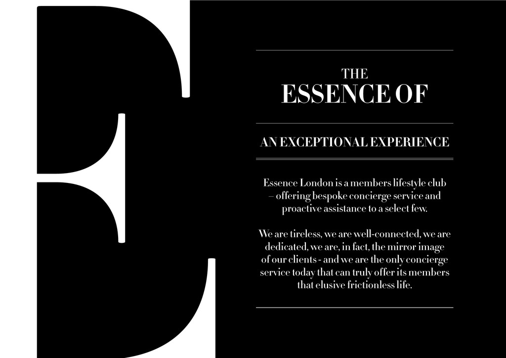 AN EXCEPTIONAL EXPERIENCE THE ESSENCE OF Essenc...
