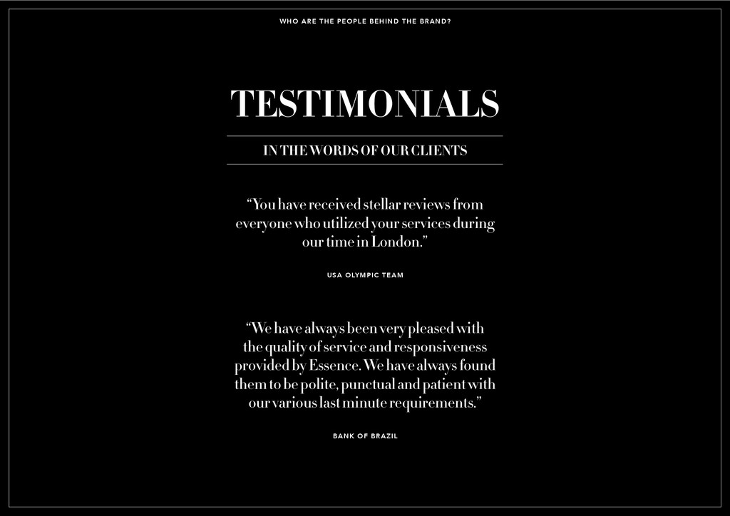 WHO ARE THE PEOPLE BEHIND THE BRAND? TESTIMONIA...