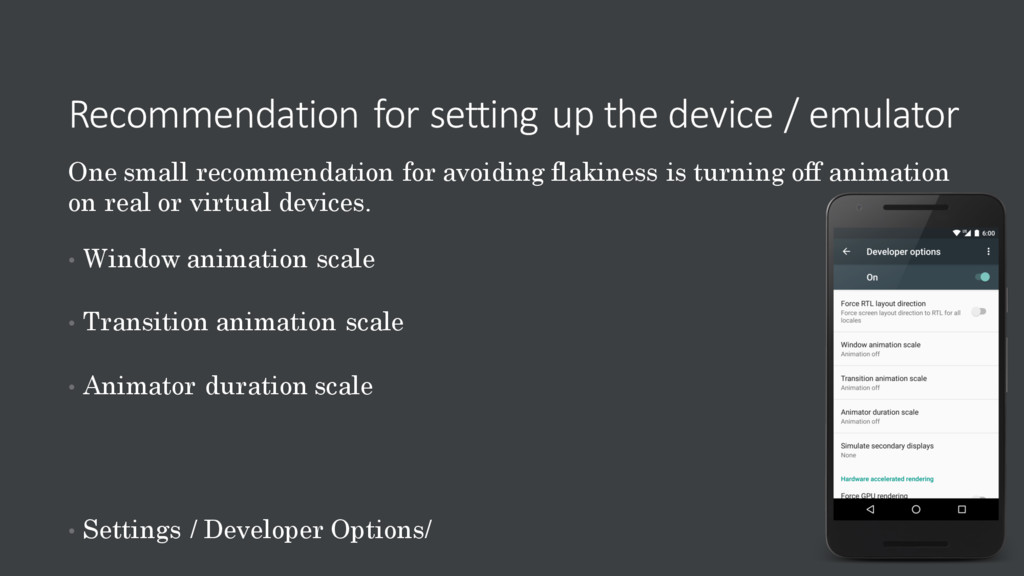 Recommendation for setting up the device / emul...
