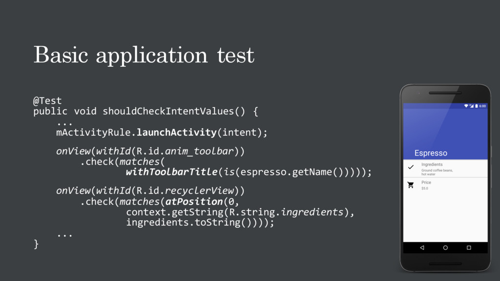 Basic application test @Test public void should...