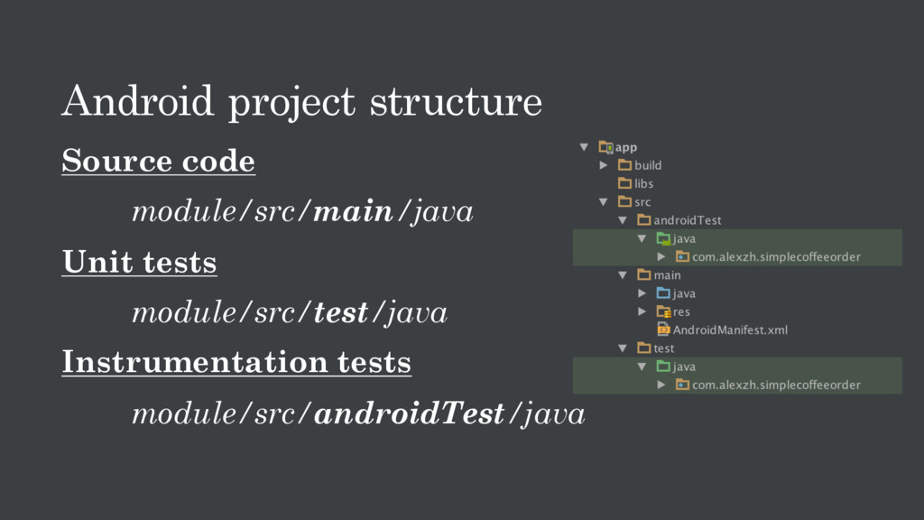 Android project structure Source code module/sr...