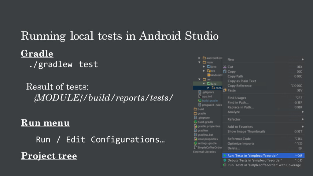 Running local tests in Android Studio Gradle ./...