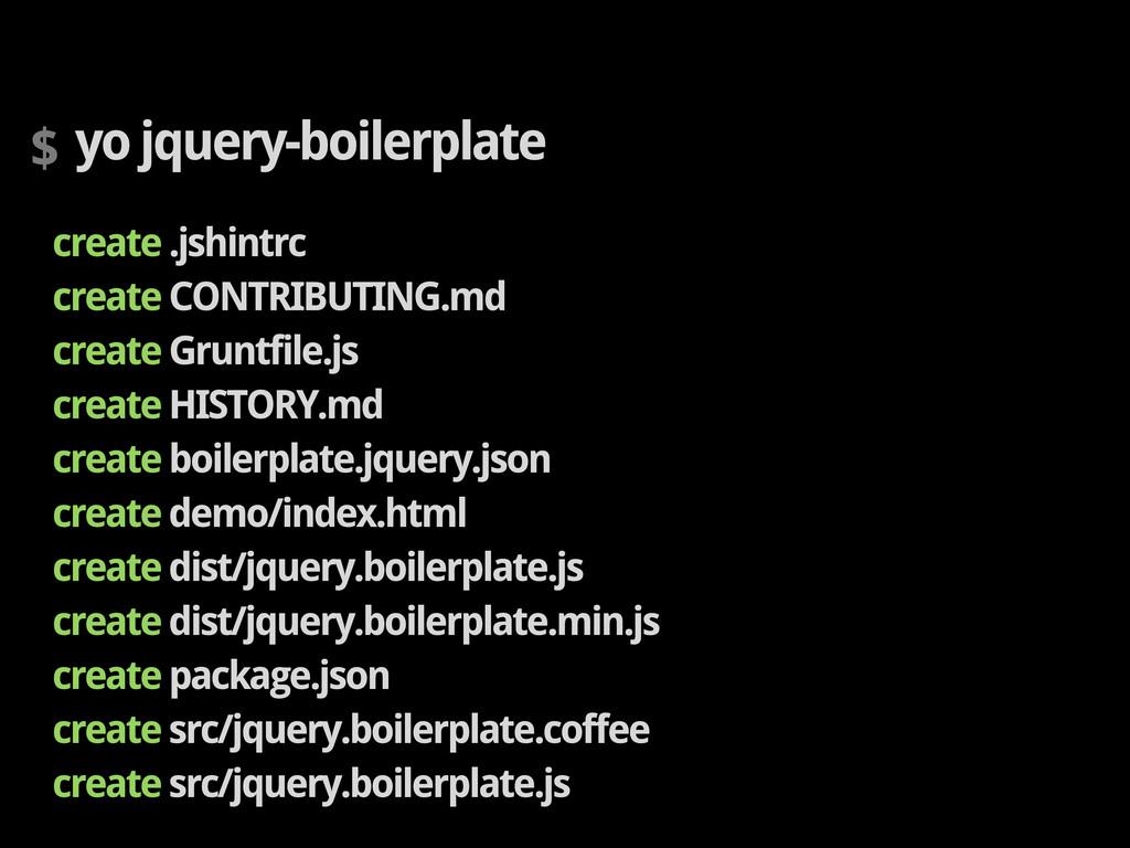 $ yo jquery-boilerplate create .jshintrc create...