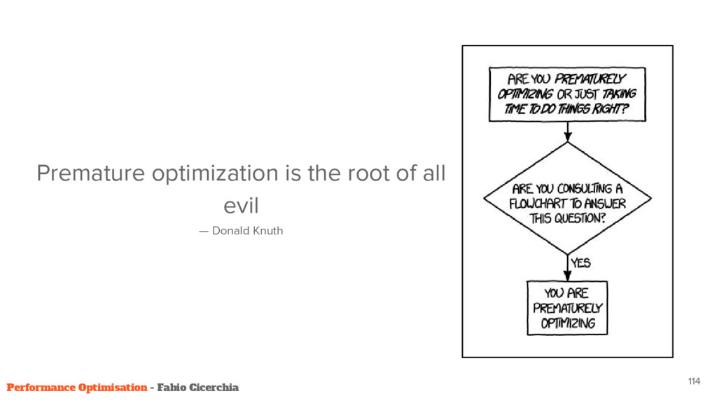 Premature optimization is the root of all evil ...