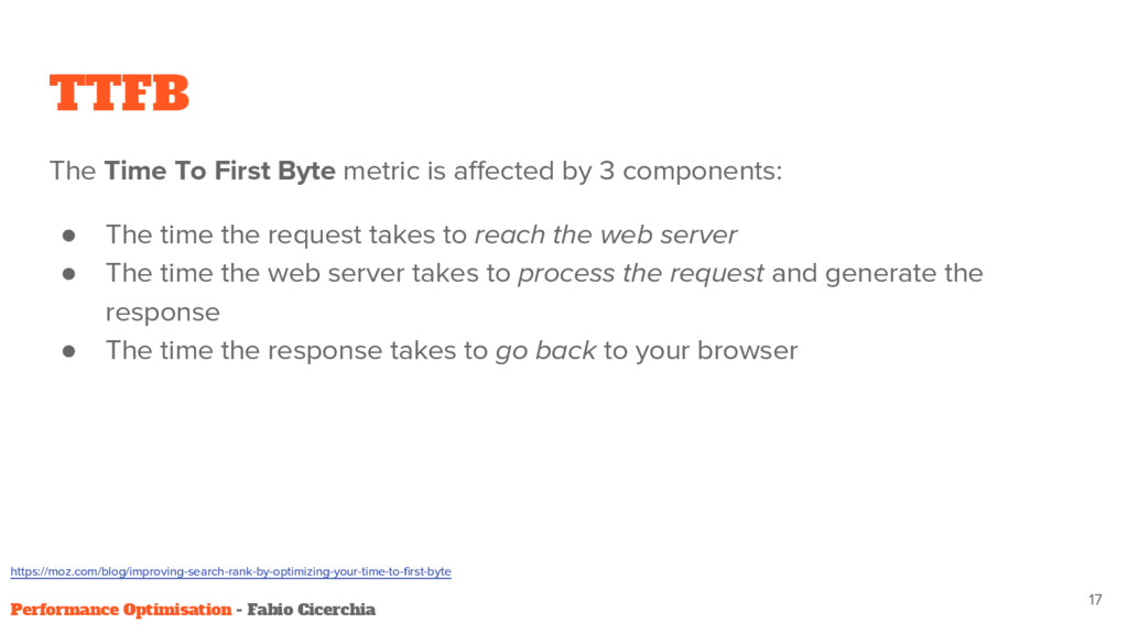 TTFB The Time To First Byte metric is affected ...