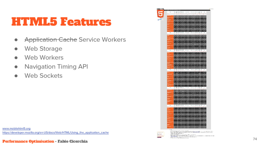 HTML5 Features ● Application Cache Service Work...