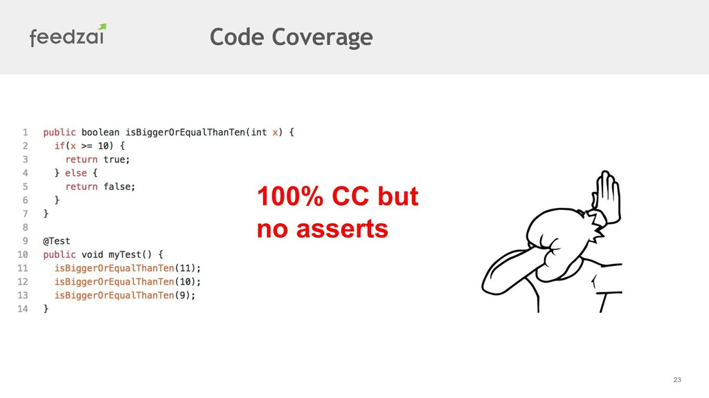 23 100% CC but no asserts Code Coverage