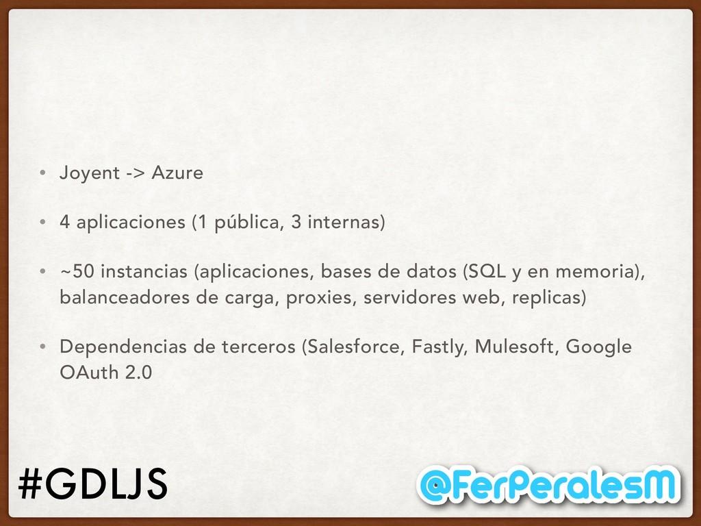 #GDLJS • Joyent -> Azure • 4 aplicaciones (1 pú...