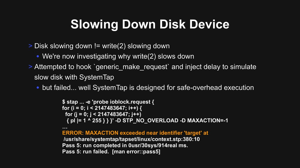 Slowing Down Disk Device > Disk slowing down !=...
