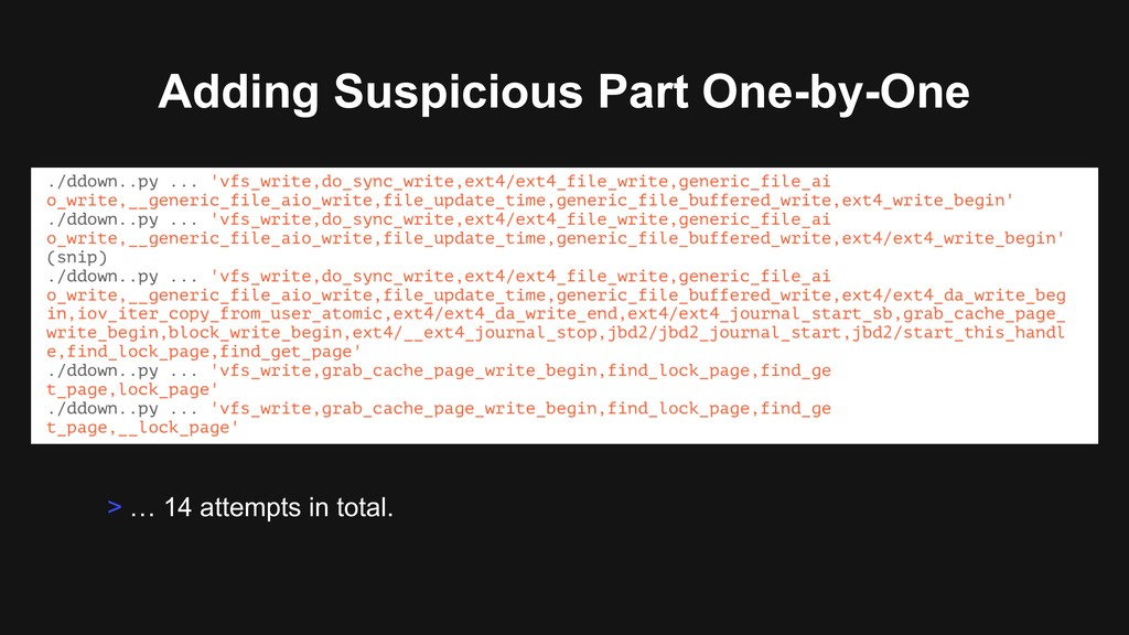 Adding Suspicious Part One-by-One > … 14 attemp...