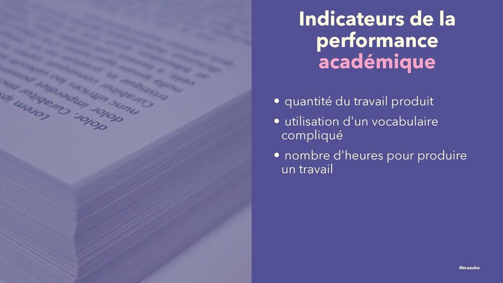 Indicateurs de la performance académique • quan...