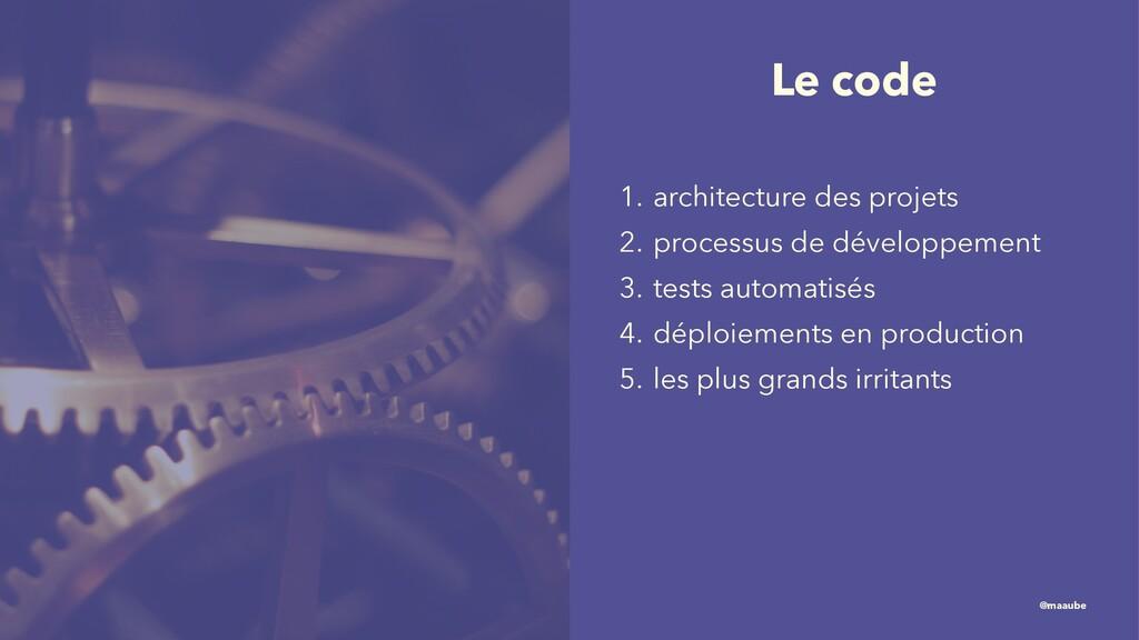 Le code 1. architecture des projets 2. processu...