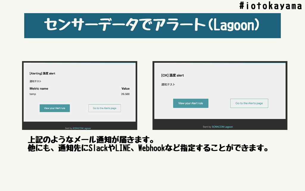 センサーデータでアラート(Lagoon) #iotokayama 上記のようなメール通知が届き...
