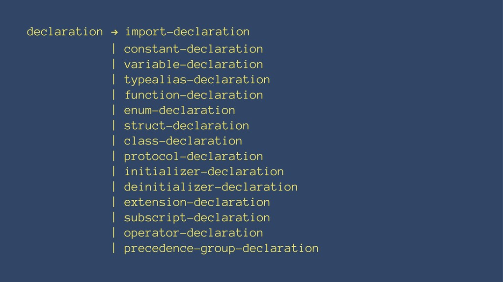 declaration ! import-declaration | constant-dec...