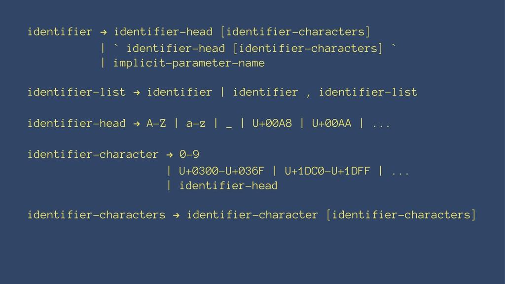 identifier ! identifier-head [identifier-charac...