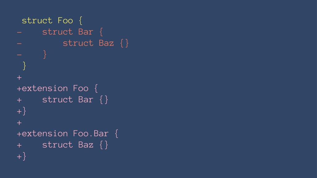 struct Foo { - struct Bar { - struct Baz {} - }...
