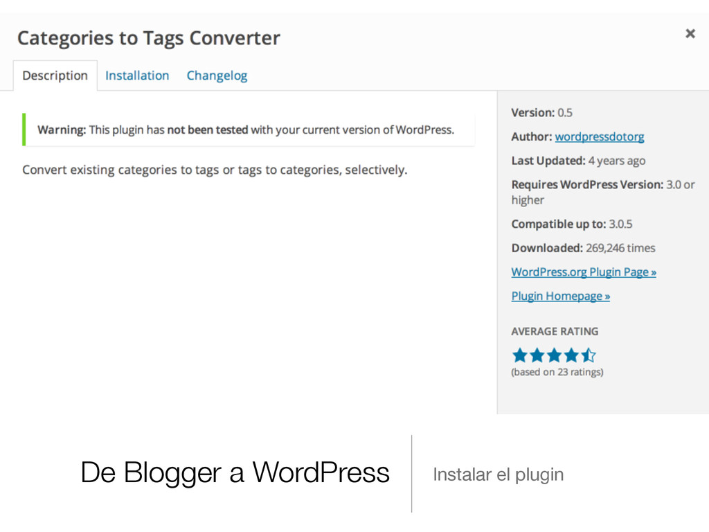 De Blogger a WordPress Instalar el plugin